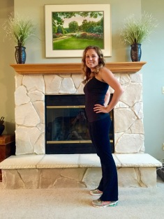 "The first of many ""baby bump"" pictures taken in front of the mantel"