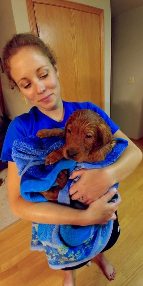 George gets his first bath